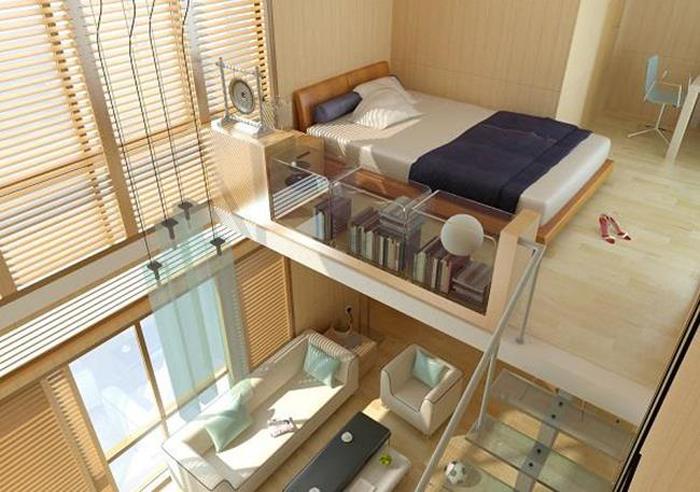 Khoảng trống cao sát trần nhà để tạo gác lửng. Ảnh: Homedit.