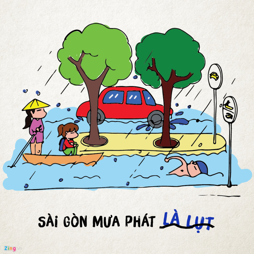 Đường về nhà chưa bao giờ xa đến thế, vì cứ mưa là từ đường bộ chuyển qua đường thủy ngay. Riết rồi cũng quen, nên mưa to đến đâu người Sài Gòn cũng bình thản lắm.