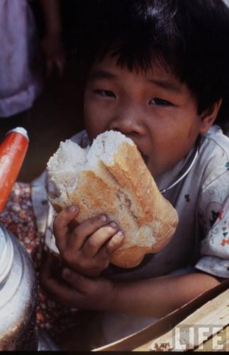 Bữa ăn đạm bạc của một cậu bé.