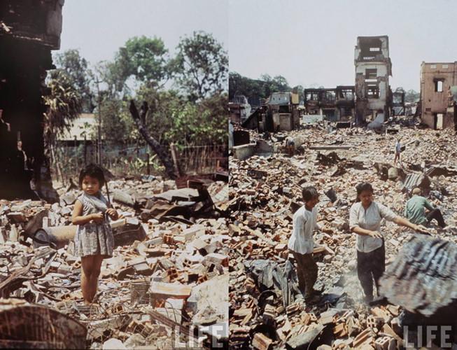 Những khu vực đổ nát như thế này có rất nhiều ở Sài Gòn sau sự kiện Tết Mậu Thân 1968.