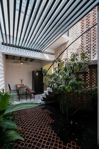 Khu vực giếng trời lấy ánh sáng cho cầu thang, cũng là không gian sân vườn nhỏ trong nhà.