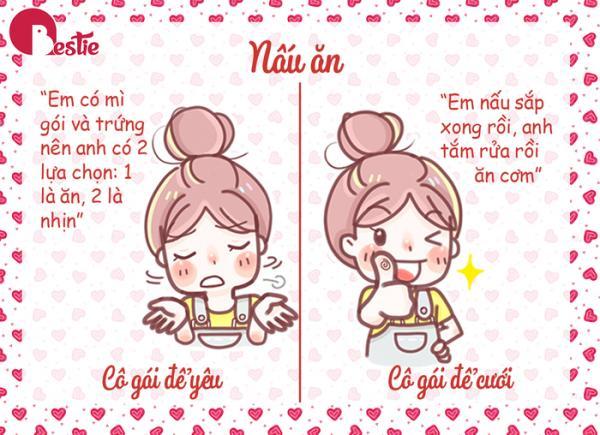 Cô gái để yêu sẽ mè nheo bạn nấu ăn cho cô ấy hoặc cả hai sẽ ra ngoài ăn cho tiện. Còn cô gái yêu để cưới sẽ nấu ăn cho bạn, bởi cô ấy luôn lo cho sức khỏe và mong muốn bạn ăn uống đủ chất, đúng bữa. Nguồn đọc thêm: http://www.xaluan.com/modules.php?name=News&file=article&sid=2246490#ixzz5LljvIgQ9  http://www.xaluan.com/raovat