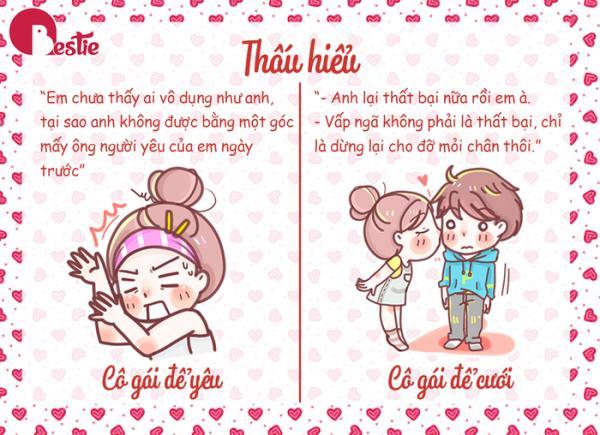 Cô gái để yêu thôi luôn so sánh và đòi hỏi bạn phải giống như người này, người kia. Cô gái yêu để cưới luôn chấp nhận bạn sai lầm, nhưng sau đó biết thay đổi, cố gắng hoàn thiện bản thân mình nhiều hơn nữa. Nguồn đọc thêm: http://www.xaluan.com/modules.php?name=News&file=article&sid=2246490#ixzz5LljyZOQP  http://www.xaluan.com/raovat