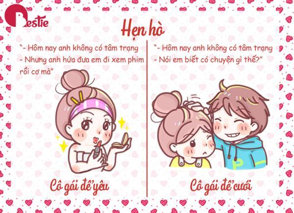Cô gái để yêu khá vô tư, thích được yêu chiều, còn cô gái để cưới sẵn sàng ngồi lại với bạn để những khó khăn, vất vả, họ luôn đồng hành với bạn trong những vấn đề của cuộc sống. Nguồn đọc thêm: http://www.xaluan.com/modules.php?name=News&file=article&sid=2246490#ixzz5LljnHOMq  http://www.xaluan.com/raovat