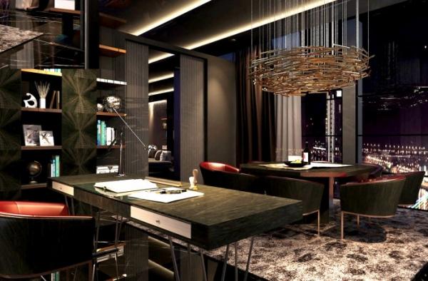 Phòng làm việc được thiết kế theo gam màu trầm nhưng toát lên sự sang trọng và quyền lực