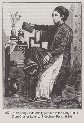 Tranh vẽ Tổng đốc Phương in trên một ấn phẩm xuất bản năm 1884. Sự nghiệp quan trường của Đỗ Hữu Phương bắt đầu năm 1865, khi ông được cử làm hộ trưởng Chợ Lớn. Năm 1872, ông được chỉ định làm hội viên Hội đồng thành phố Chợ Lớn. Ảnh tư liệu.