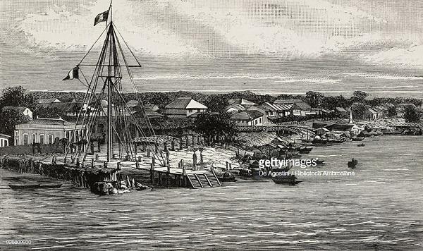 Sông Sài Gòn vàcột cờ Thủ Ngữtrong một ấn phẩm in năm 1884. Được xây dựng vào năm 1865, cột cờ Thủ Ngữ là một trong những công trình lịch sử nổi tiếng của Sài Gòn xưa. Ảnh tư liệu.