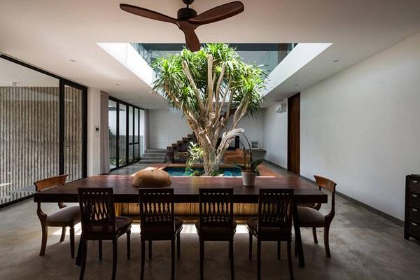 """Bên cạnh đó một cửa sổ lớn che nắng tại khu vực giếng trời tự động điều khiển ánh sáng mặt trời chiếu qua cửa sổ trời có thể mở rộng lớn của sân để giữ cho ngôi nhà mát mẻ và kiểm soát ánh sáng mặt trời trực tiếp. Vào ban ngày, gia chủ không bao giờ cần phải bật đèn. Tận dụng lợi thế của diện tích đất, toàn bộ công năng ngôi nhà được bố trí xung quanh một giếng trời lớn mà các kiến trúc sư gọi là """"sân trong"""" mang lại nhiều ánh sáng tự nhiên. Cây xanh trồng ở giếng trời có đủ ánh sáng tự nhiên để phát triển tốt. Hồ nước giữa nhà tạo nên sự phân cách giữa phòng khách và bàn ăn. Bệ gỗ bao quanh hồ là chỗ ngồi chơi, tủ để sách báo tiện dụng."""