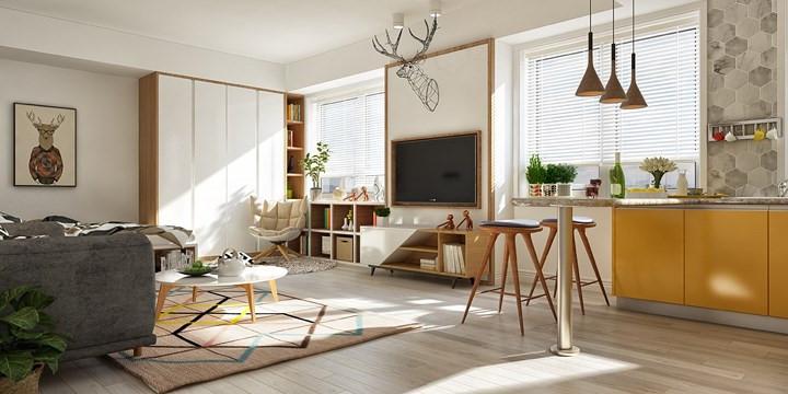 Các không gian còn lại trong căn hộ sử dụng màu sắc tinh tế hơn cho phép nội thất nhà bếp màu vàng được kể câu chuyện riêng theo cách của nó.