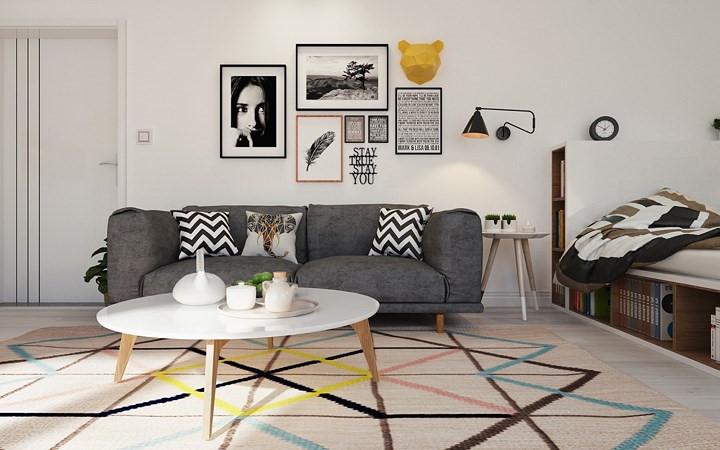 Ghế sofa màu xám không chỉ là nơi tiếp khách, đôi khi đó còn là nơi nghỉ tạm của chủ nhân khi không muốn ngủ trên giường.