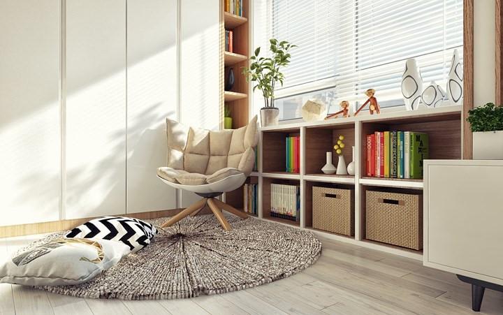 Góc cạnh cửa sổ là nơi đọc sách lý tưởng, tấm thảm dày có thể để cho chủ nhân ngả lưng khi muốn vừa nằm vừa đọc sách.