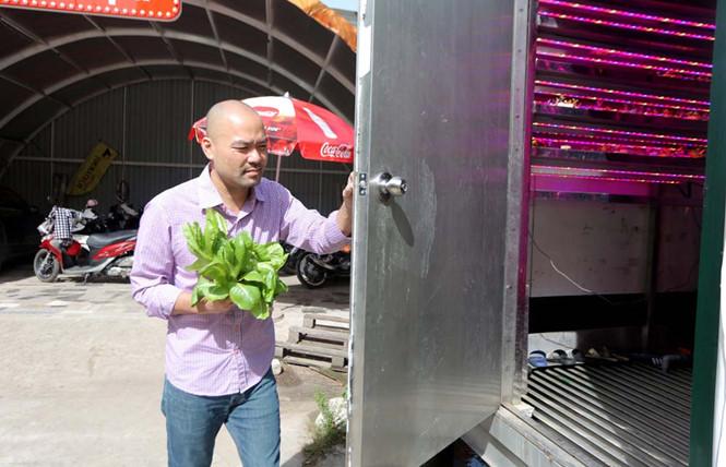 """Thùng container được John Tran cải tiến thành """"nông trại không đất"""" độc đáo ẢNH: NGỌC DƯƠNG"""
