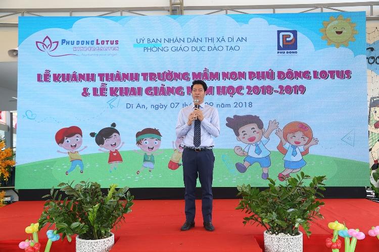Ông Ngô Quang Phúc - Tổng Giám đốc Phú Đông Group phát biểu