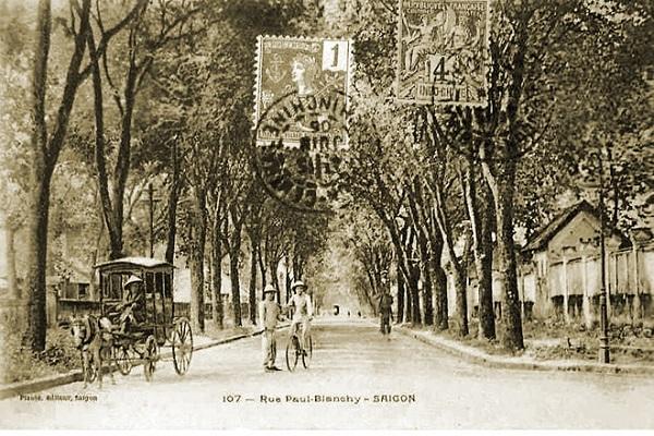 Cây xanh trên đường Paul Blanchy, được chụp vào năm 1906. Lúc này, đường đã có lề nhưng mặt đường còn cán đá. Xe đạp, xe hơi đã xuất hiện nhưng còn hiếm. Cả Sài Gòn lúc này chưa tới 20 chiếc xe hơi. Phương tiện đi lại của mọi người chủ yếu là cuốc bộ, xe ngựa và tàu điện (tramway).
