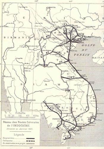 Theo ước tính, mạng lưới đường bộ ở Đông Dương đã mở rộng gấp 3 lần trong vòng 15 năm. Ảnh: bản đồ mạng lưới đường bộ Đông Dương năm 1921.