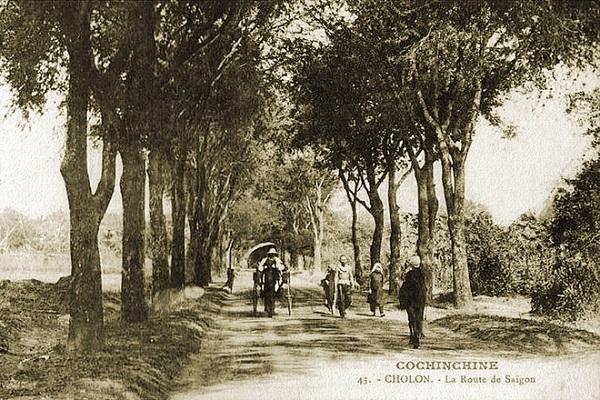 """Bức ảnh """"La Route de Saigon"""" được chụp đầu thế kỷ 20. Đường từ Chợ Lớn dẫn ra Bến Nghé, nay là đường Nguyễn Trãi, quận 5. Vào năm 1901, đây là một con đường đất nằm giữa hai hàng cây xanh mát, làng mạc xanh tươi."""