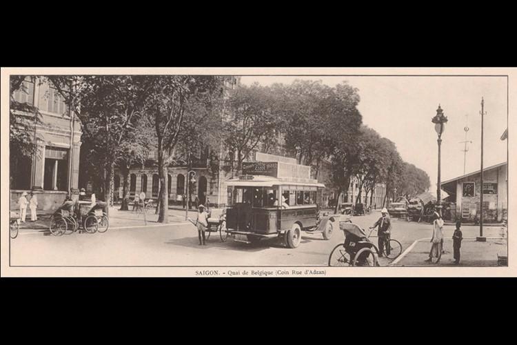 Bến Belgique, góc đường Adran (nay là Bến Chương Dương và góc Hồ Tùng Mậu). Ảnh: Ludovic Crespin
