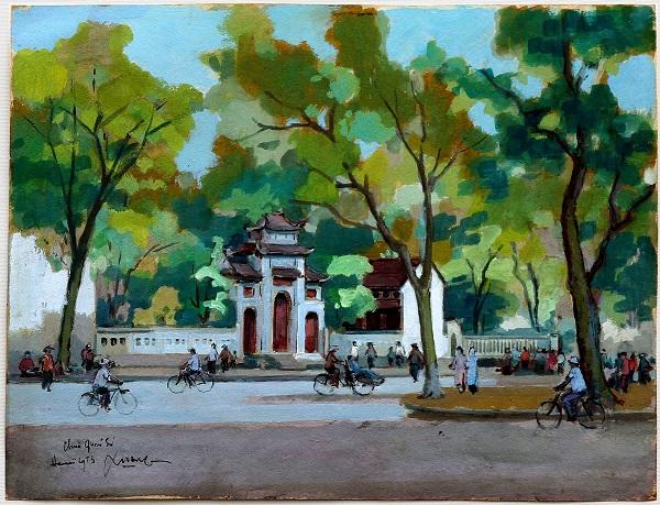 Không gian bàng bạc của Hà Nội xưa được tái hiện qua những bức vẽ về địa danh, thắng cảnh nổi tiếng của họa sỹ Lê Văn Xương bằng chất liệu bột màu, phấn tiên...