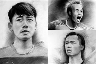 Chân dung các cầu thủ Việt Nam - Ảnh: ghép từ tác phẩm của Nguyễn Tấn Hậu