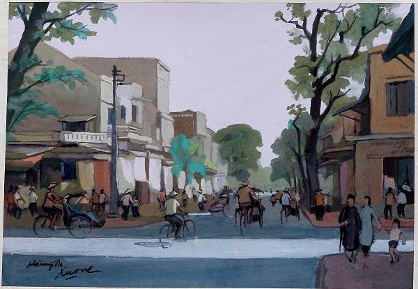 Phần lớn tranh triển lãm lần này là lời mời khách thưởng ngoạn tìm về Hà Nội những năm cuối 1940 và thập niên 1950-1960, hòa mình cùng cảnh đường phố xưa, với các di tích gắn liền thành phố và chìm đắm trong cảnh quan ngoại thành.