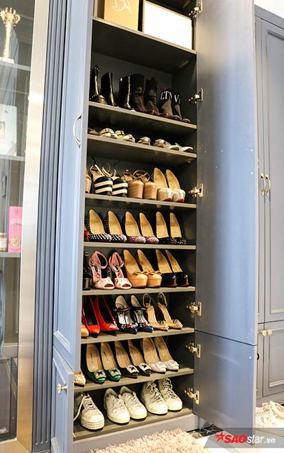 1 góc nhỏ tủ giày của nàng hậu với các thương hiệu hàng đầu thế giới.