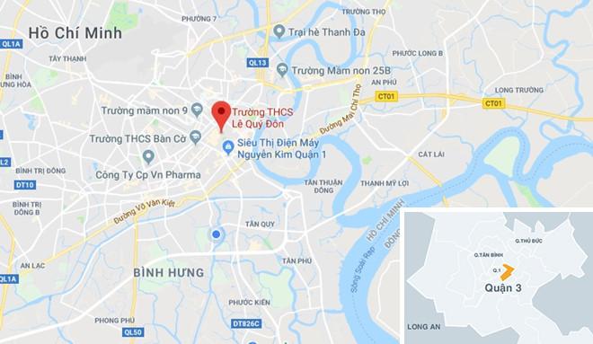 Vị trí điểm đón xe buýt gần Trường THCS Lê Qúy Đôn. Ảnh: Google Maps.