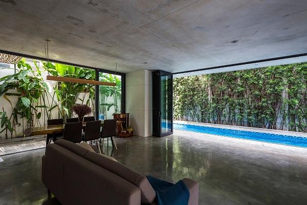 Căn nhà thông thoáng, mát mẻ, phù hợp với đặc thù thời tiết nắng nóng của Sài Gòn.