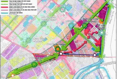 Ý tưởng quy hoạch các tuyến phố đi bộ liên hoàn (màu xanh lá) ở trung tâm TP HCM của Sở Quy hoạch - Kiến trúc. Ảnh: Hữu Nguyên.