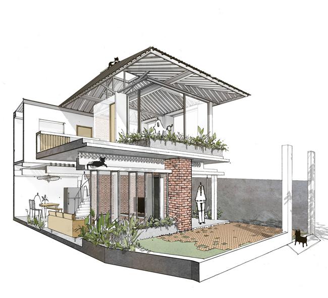Hình vẽ 3D căn nhà