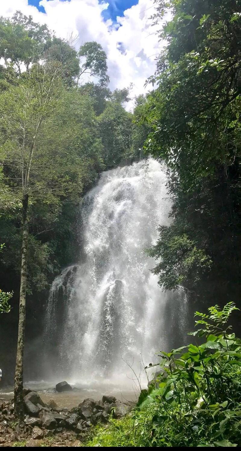 Thác Lưu Ly hùng vĩ chảy giữa rừng cây xanh mướt. Ảnh: VÕ NGUYÊN