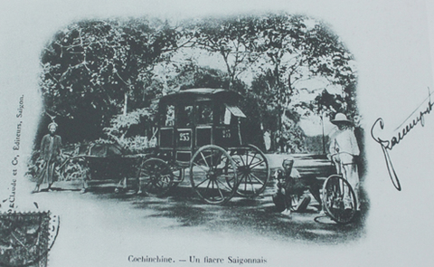 Một xe ngựa chở khách ở Sài Gòn.